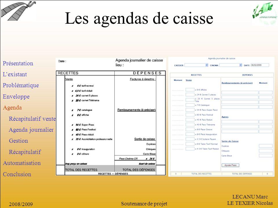 Les agendas de caisse Présentation L'existant Problématique Enveloppe