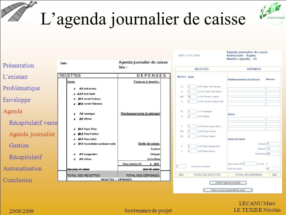 L'agenda journalier de caisse
