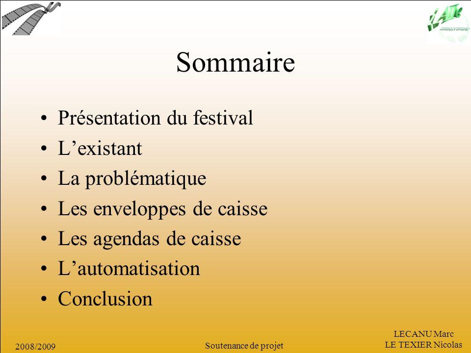 Sommaire Présentation du festival L'existant La problématique