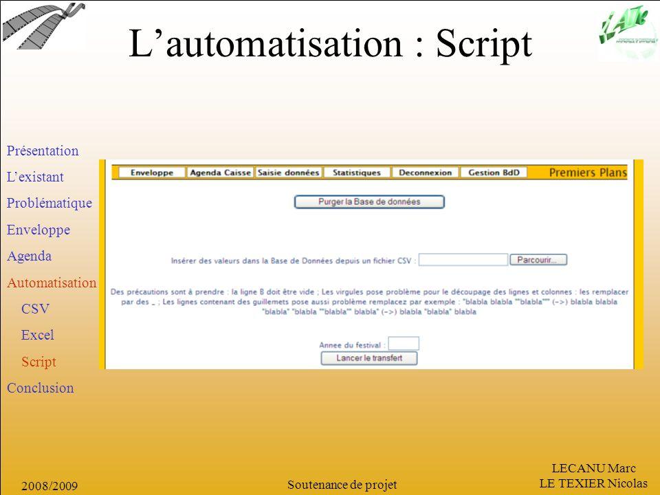 L'automatisation : Script