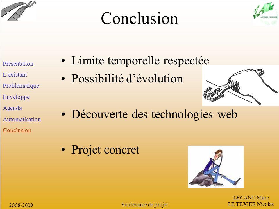 Conclusion Limite temporelle respectée Possibilité d'évolution
