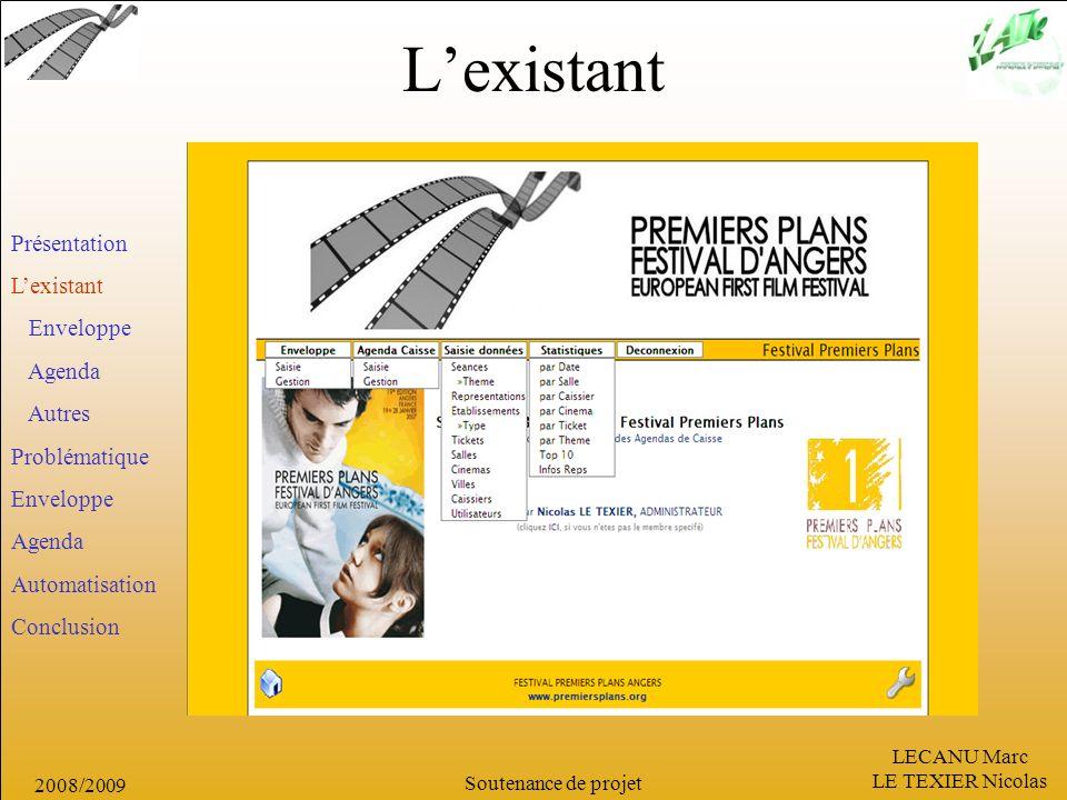 L'existant Présentation L'existant Enveloppe Agenda Autres