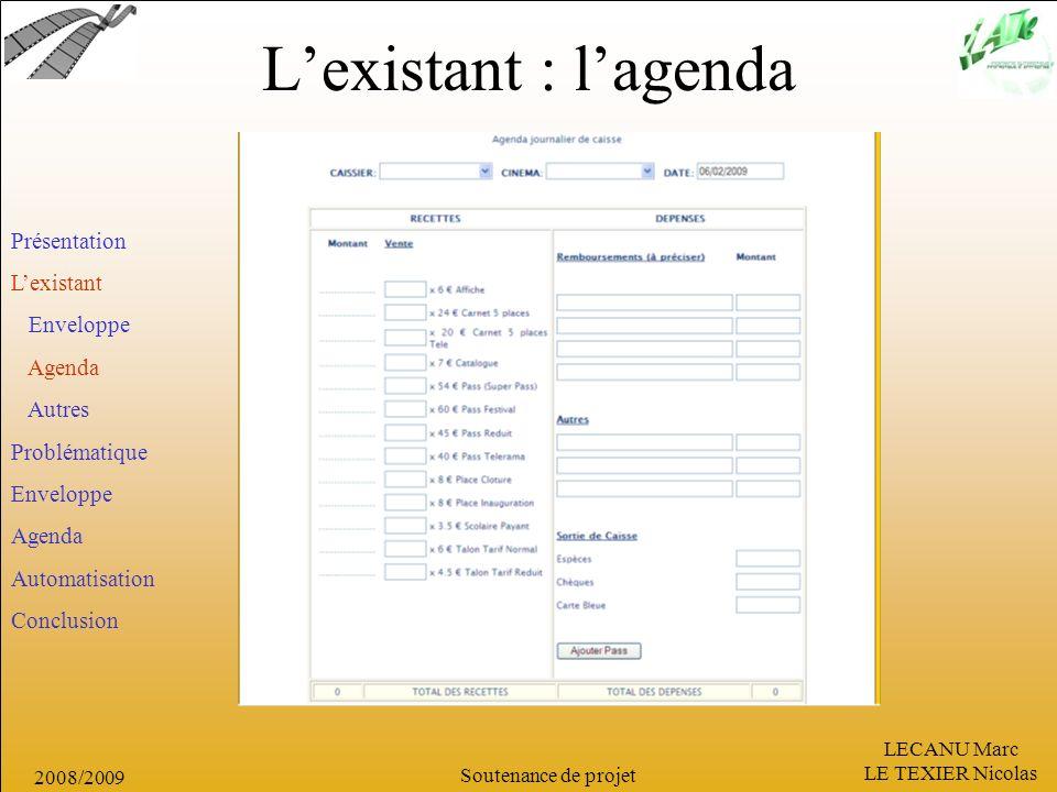 L'existant : l'agenda Présentation L'existant Enveloppe Agenda Autres