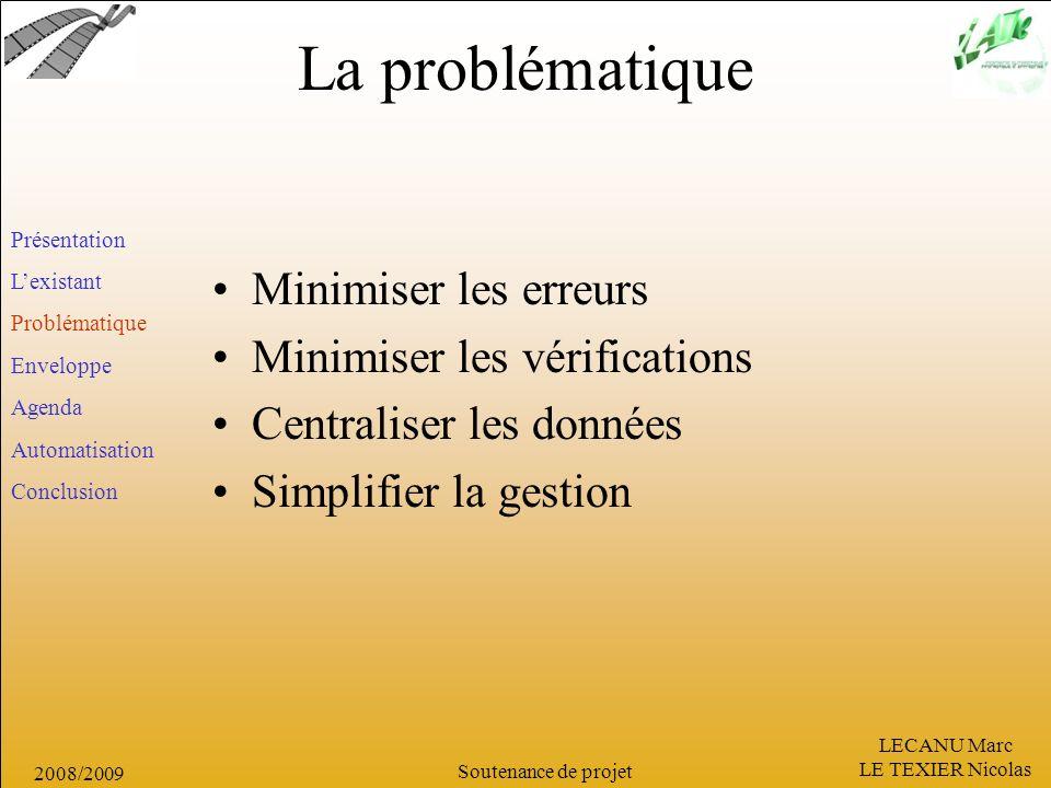 La problématique Minimiser les erreurs Minimiser les vérifications
