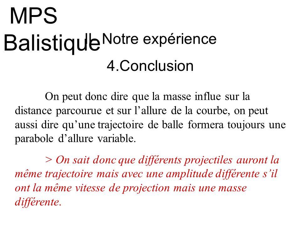 MPS Balistique II- Notre expérience 4.Conclusion