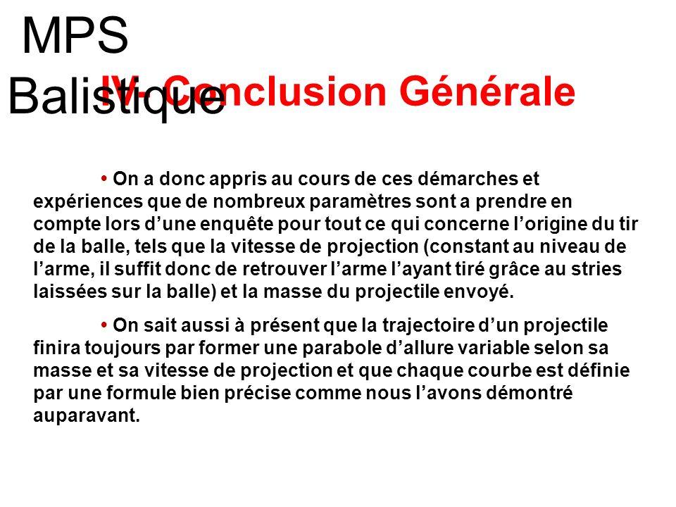 IV- Conclusion Générale