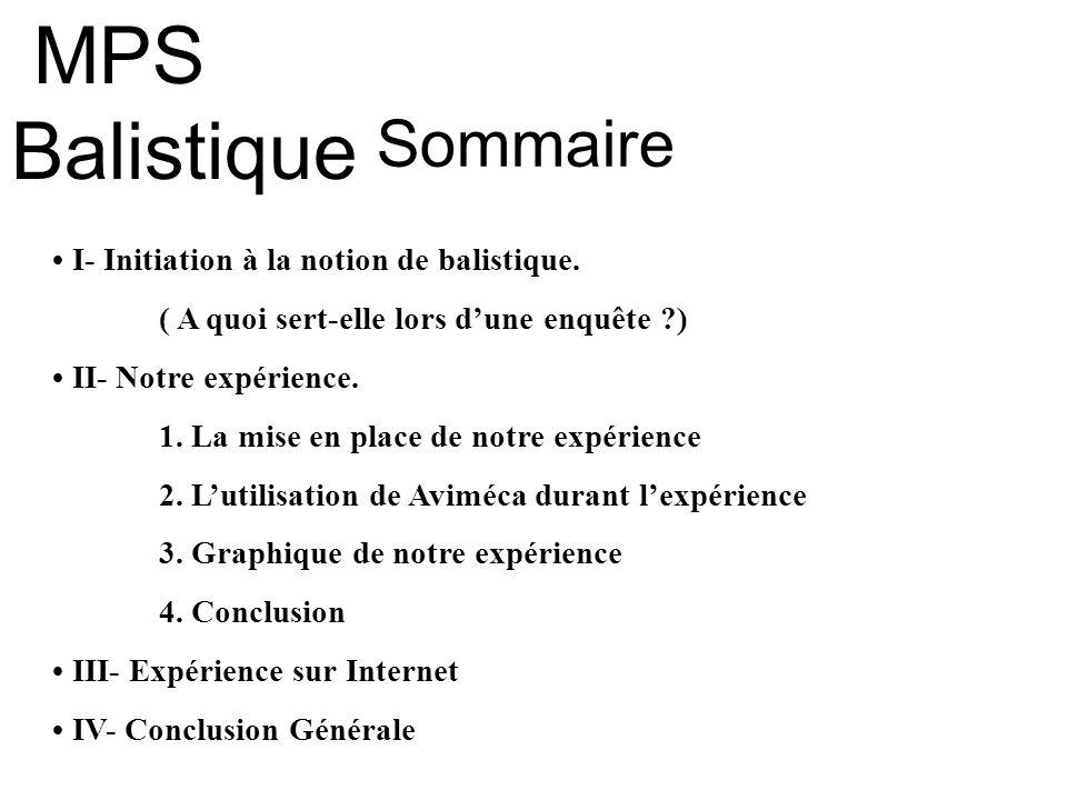 MPS Balistique Sommaire • I- Initiation à la notion de balistique.