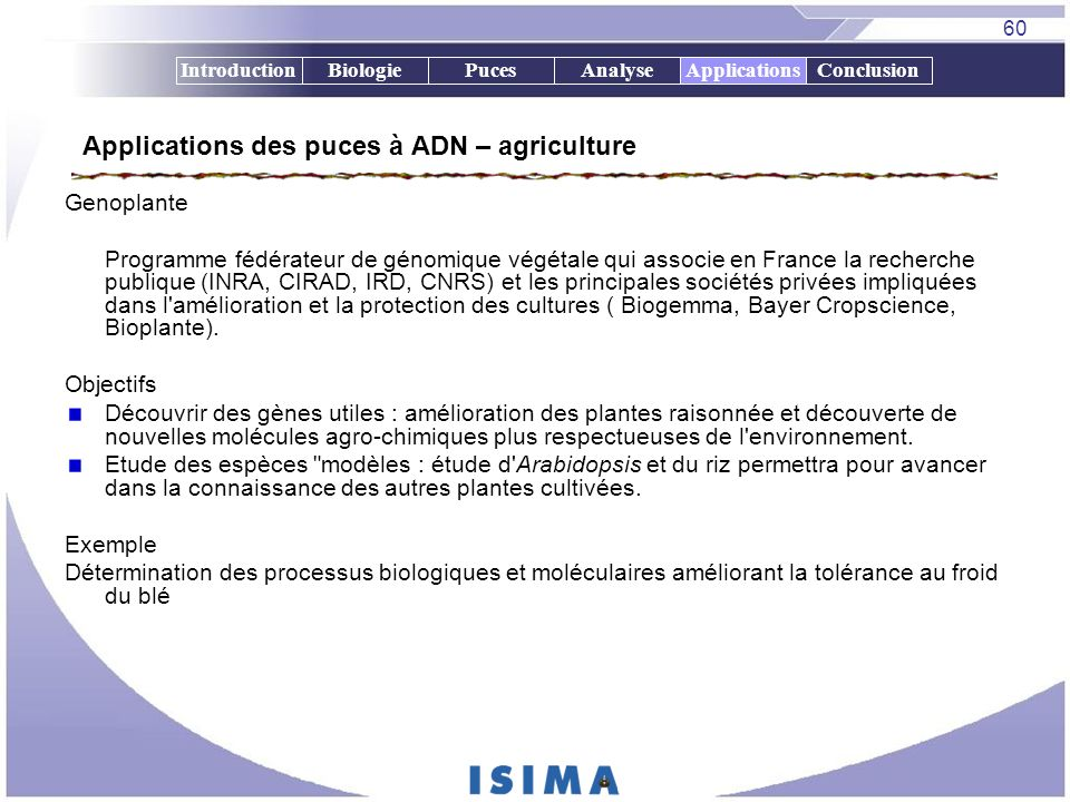 Applications des puces à ADN – agriculture