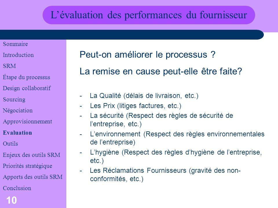 L'évaluation des performances du fournisseur