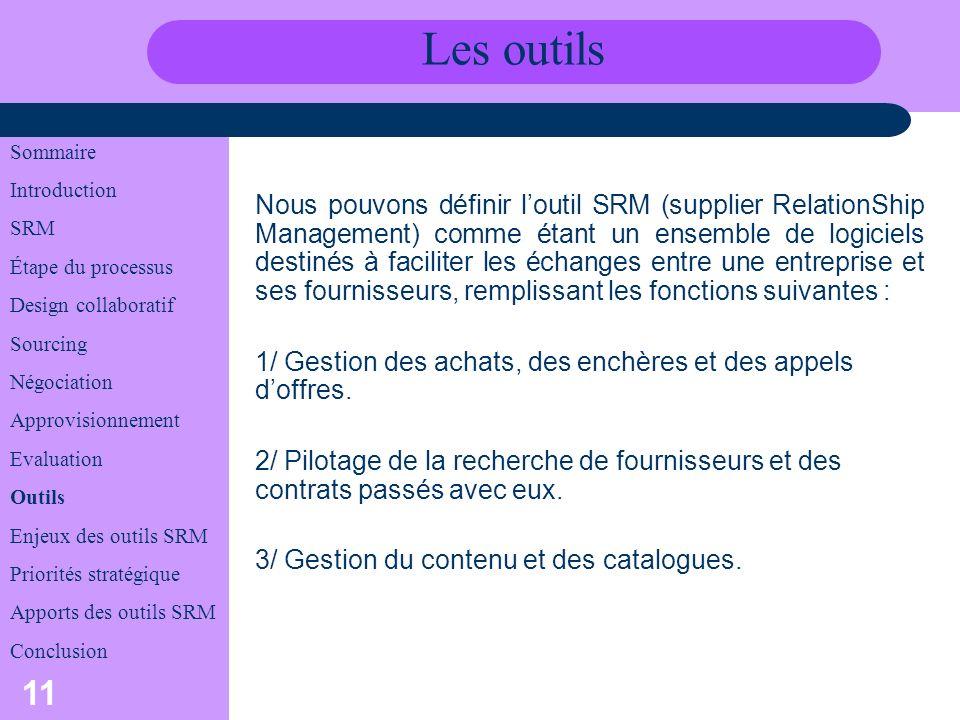Les outils Sommaire. Introduction. SRM. Étape du processus. Design collaboratif. Sourcing. Négociation.