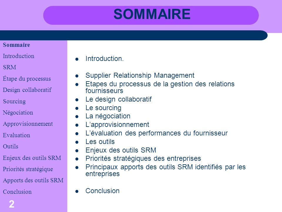 SOMMAIRE Introduction. Supplier Relationship Management