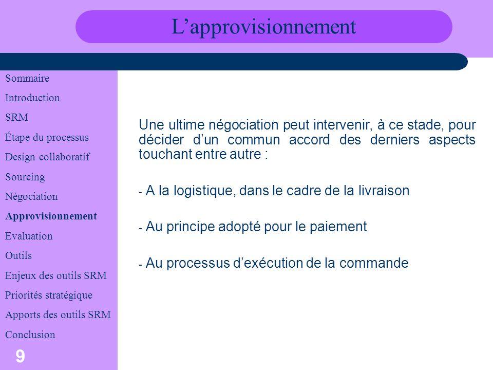 L'approvisionnement Sommaire. Introduction. SRM. Étape du processus. Design collaboratif. Sourcing.