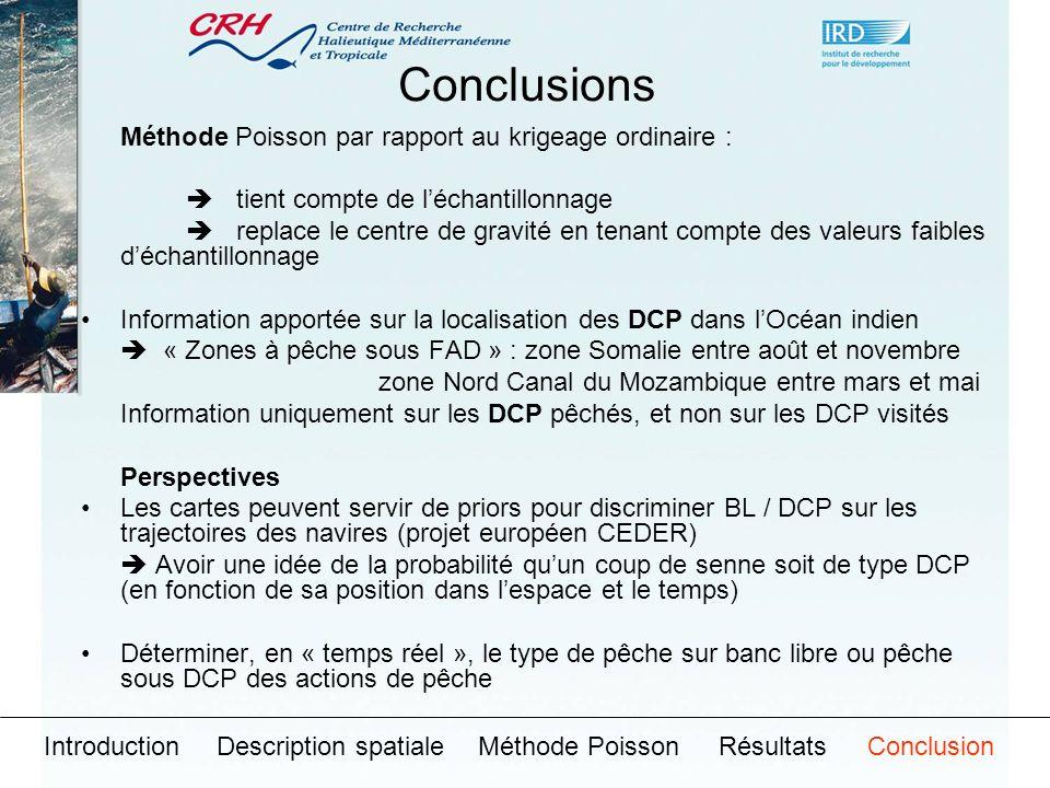 Conclusions Méthode Poisson par rapport au krigeage ordinaire :