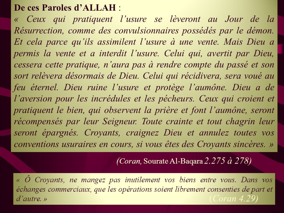 De ces Paroles d'ALLAH :