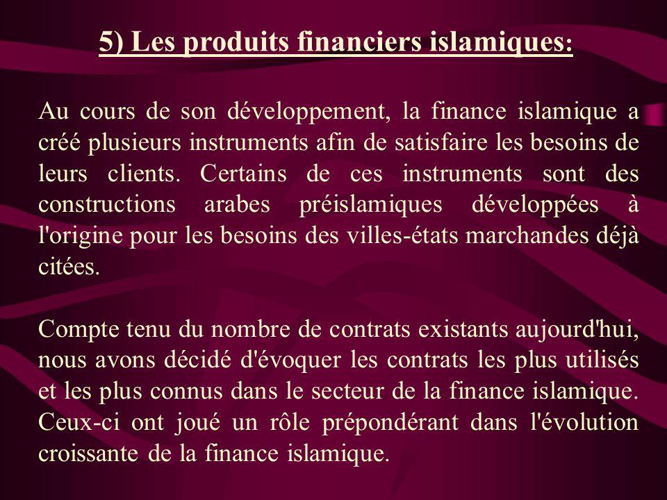 5) Les produits financiers islamiques: