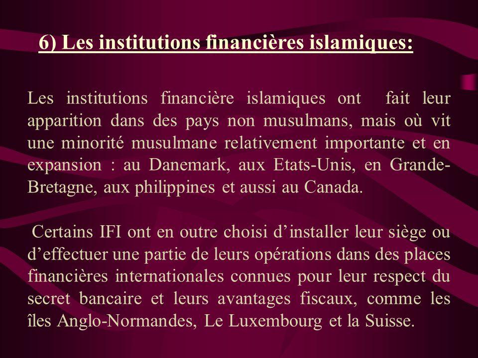 6) Les institutions financières islamiques: