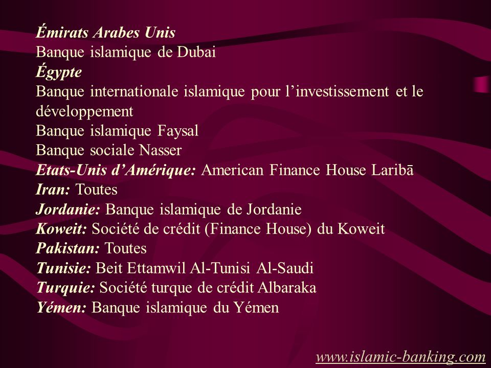 Émirats Arabes Unis Banque islamique de Dubai. Égypte. Banque internationale islamique pour l'investissement et le développement.