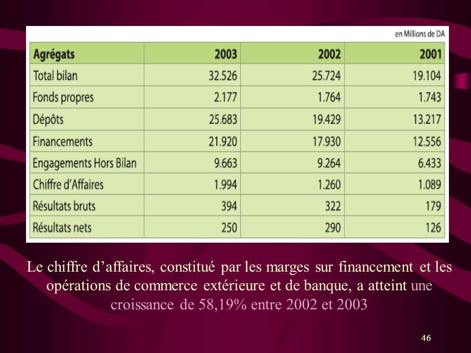 Le chiffre d'affaires, constitué par les marges sur financement et les opérations de commerce extérieure et de banque, a atteint une croissance de 58,19% entre 2002 et 2003