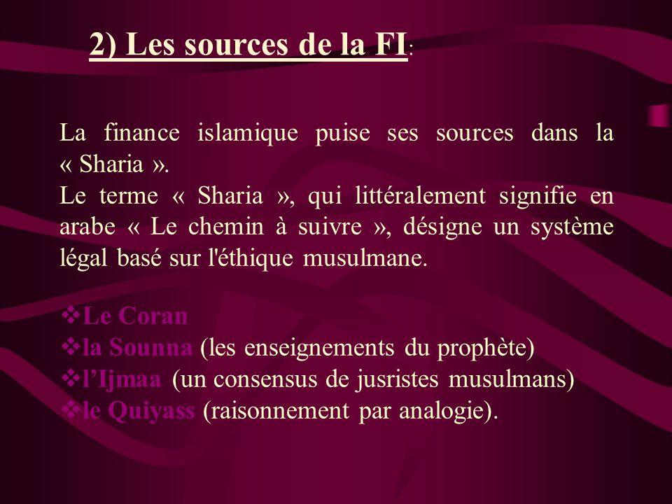 2) Les sources de la FI: La finance islamique puise ses sources dans la « Sharia ».