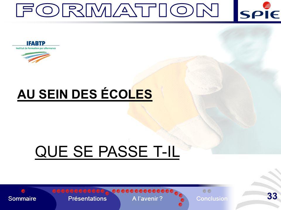 QUE SE PASSE T-IL FORMATION AU SEIN DES ÉCOLES 33 Sommaire