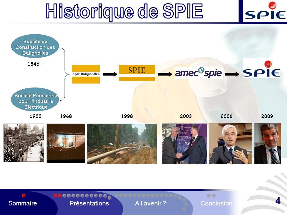 4 Historique de SPIE Sommaire Présentations A l'avenir Conclusion