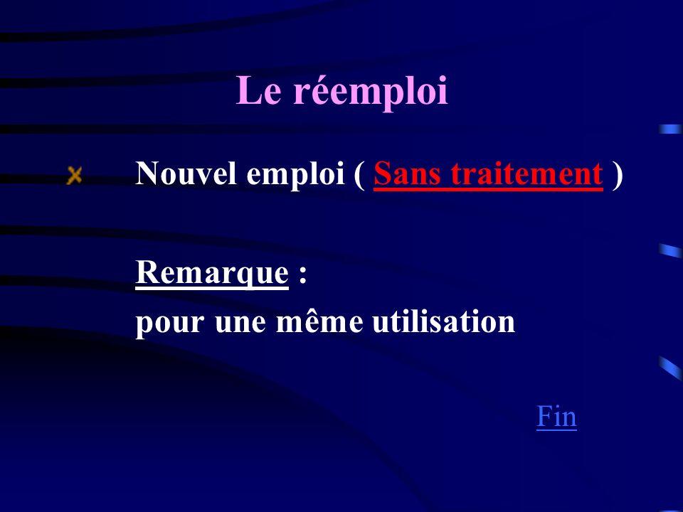 Le réemploi Nouvel emploi ( Sans traitement ) Remarque :