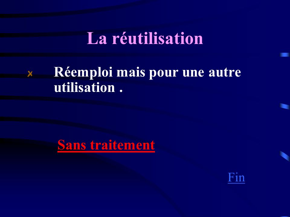 La réutilisation Sans traitement