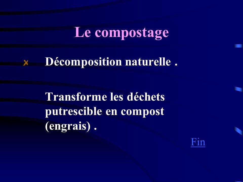 Le compostage Décomposition naturelle . Transforme les déchets putrescible en compost (engrais) .