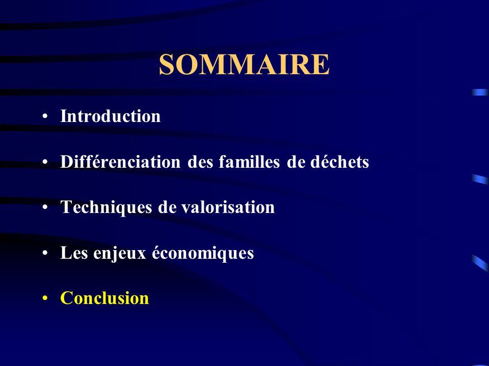 SOMMAIRE Introduction Différenciation des familles de déchets