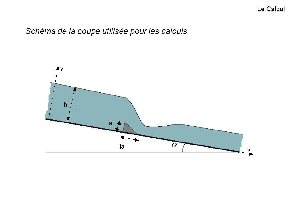 Schéma de la coupe utilisée pour les calculs