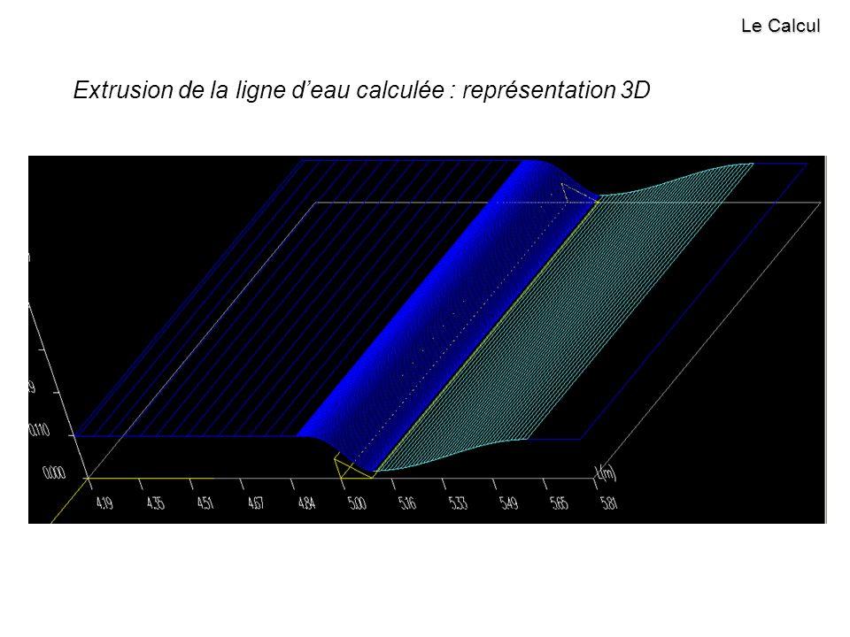Extrusion de la ligne d'eau calculée : représentation 3D