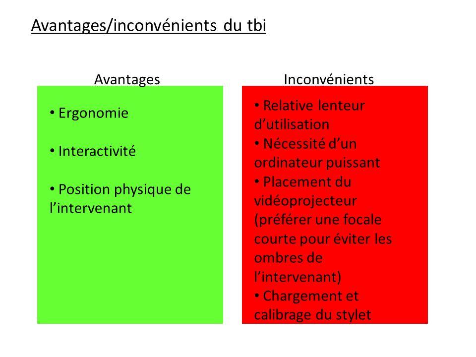 Avantages/inconvénients du tbi