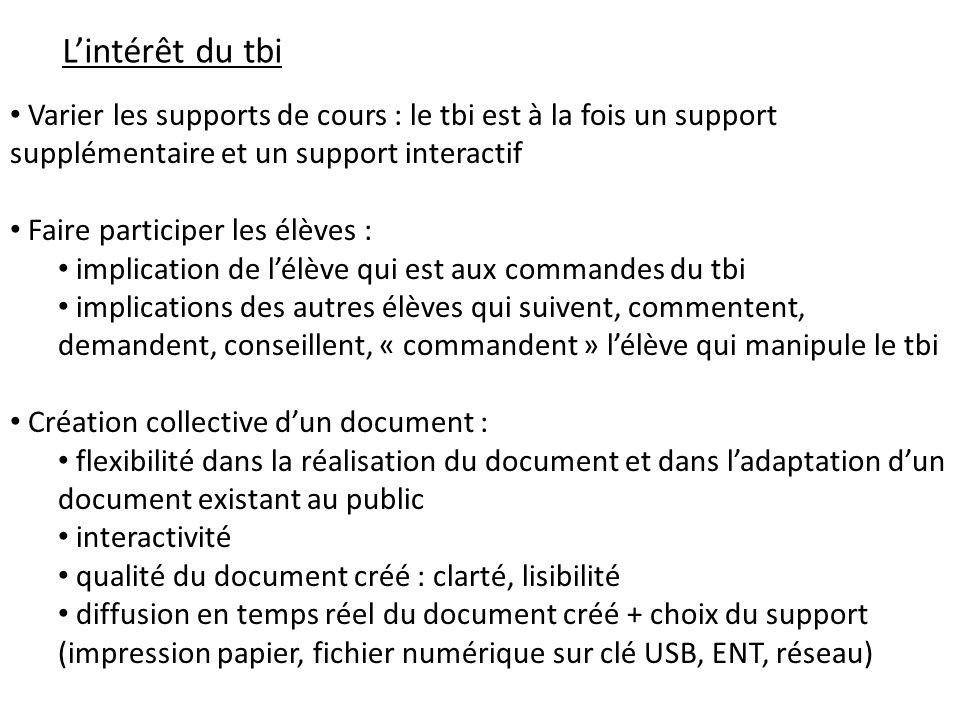 L'intérêt du tbi Varier les supports de cours : le tbi est à la fois un support supplémentaire et un support interactif.