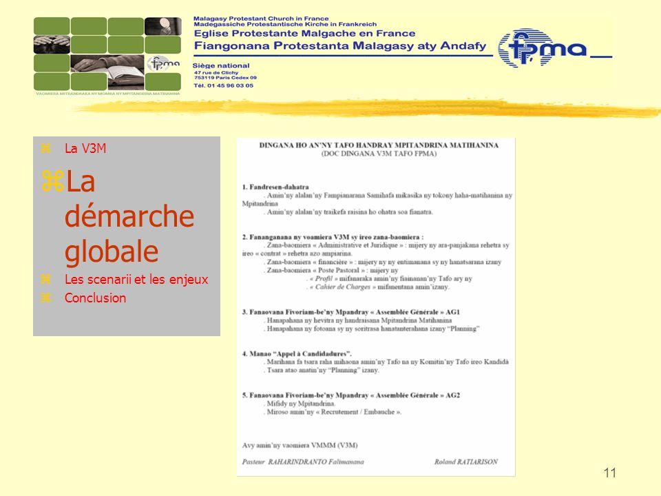 La V3M La démarche globale Les scenarii et les enjeux Conclusion