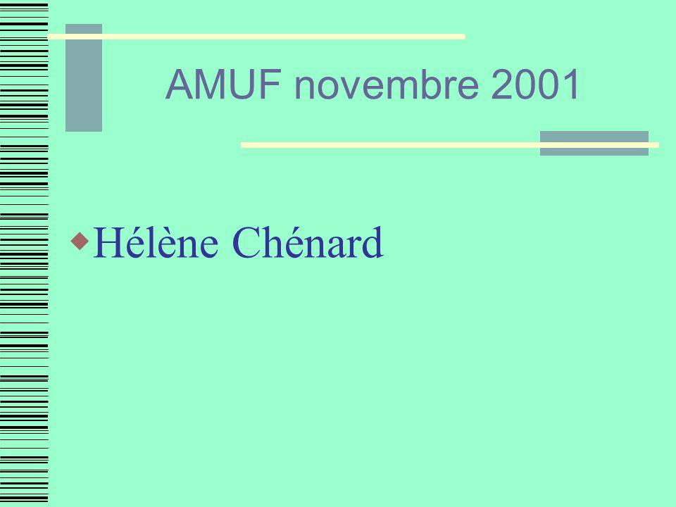 AMUF novembre 2001 Hélène Chénard