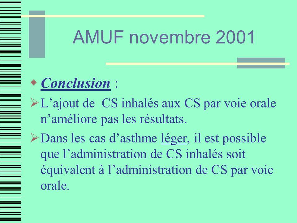 AMUF novembre 2001 Conclusion :
