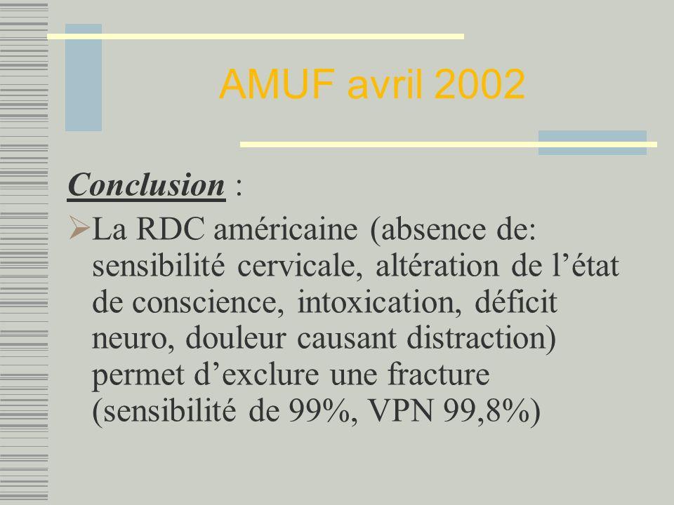 AMUF avril 2002 Conclusion :