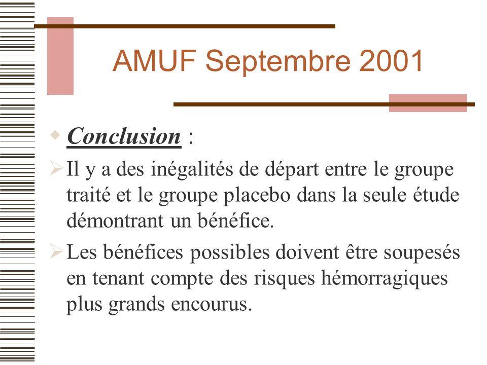 AMUF Septembre 2001 Conclusion :