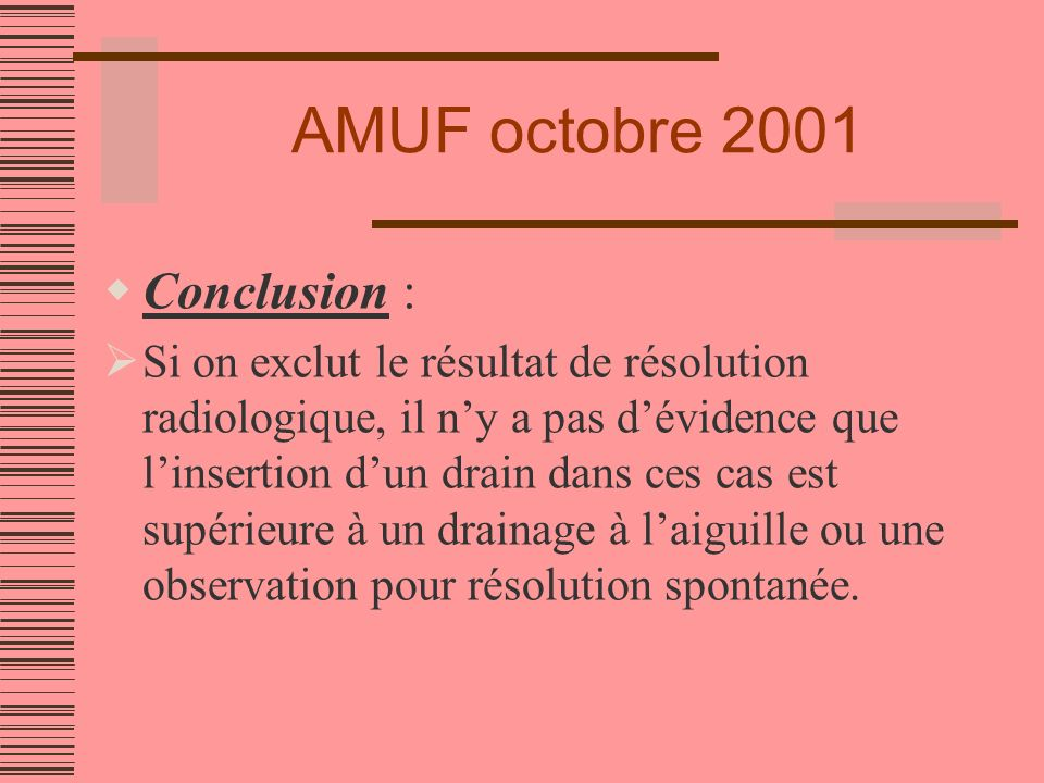AMUF octobre 2001 Conclusion :