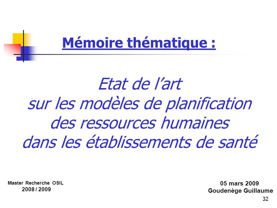 Mémoire thématique : Etat de l'art sur les modèles de planification des ressources humaines dans les établissements de santé