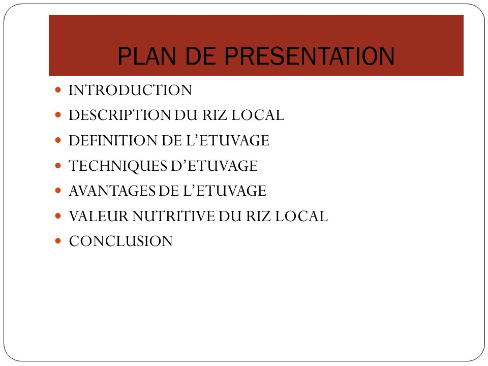 PLAN DE PRESENTATION INTRODUCTION DESCRIPTION DU RIZ LOCAL