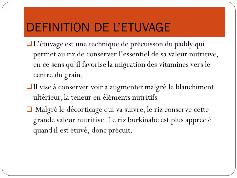 DEFINITION DE L'ETUVAGE