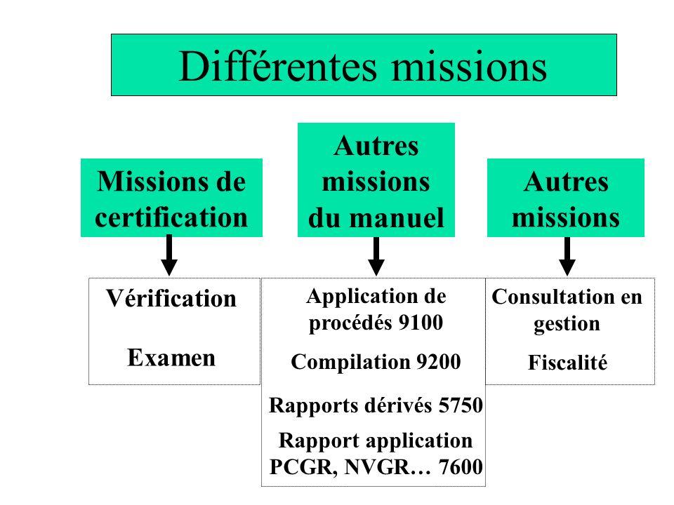 Autres missions du manuel Missions de certification