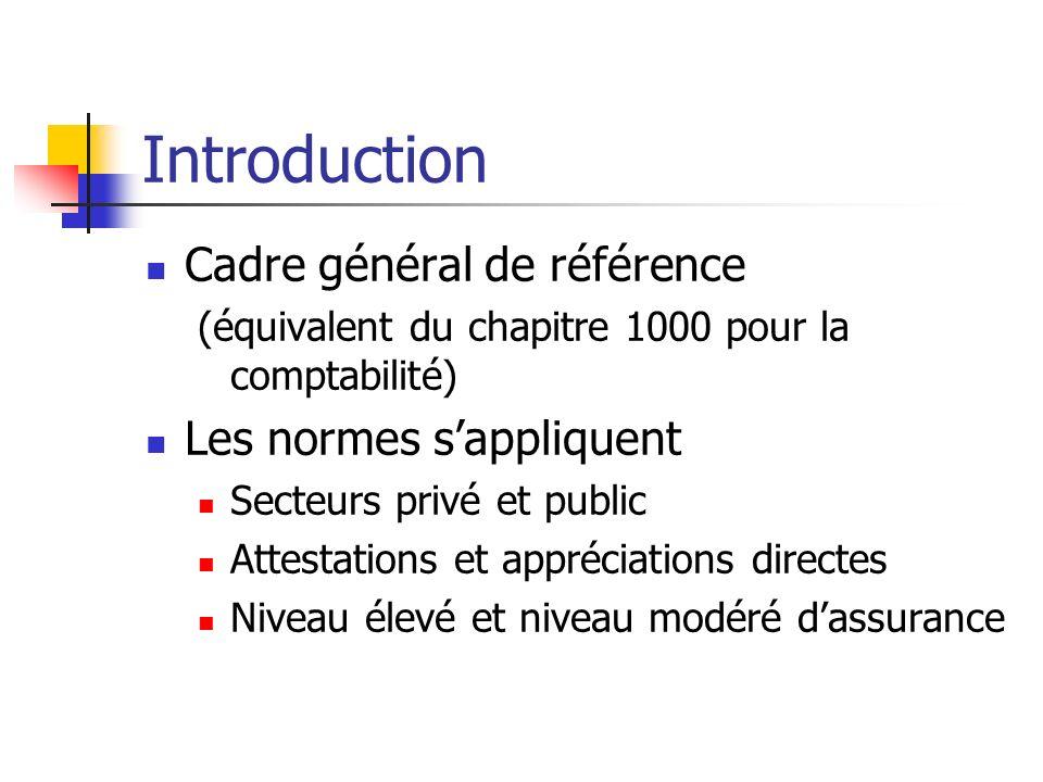 Introduction Cadre général de référence Les normes s'appliquent