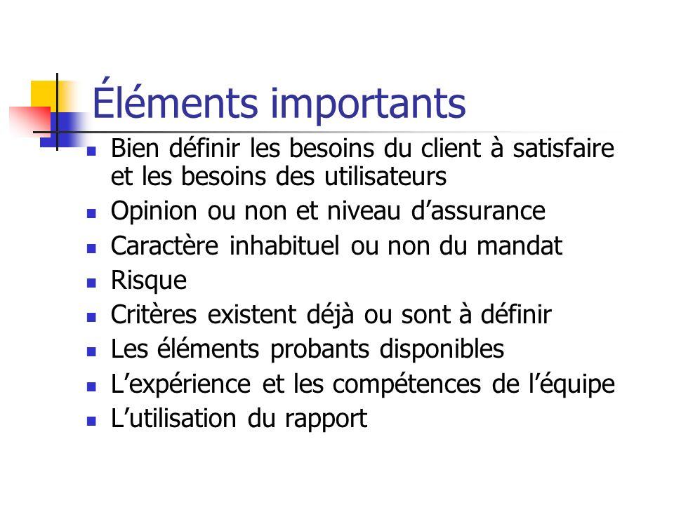 Éléments importants Bien définir les besoins du client à satisfaire et les besoins des utilisateurs.