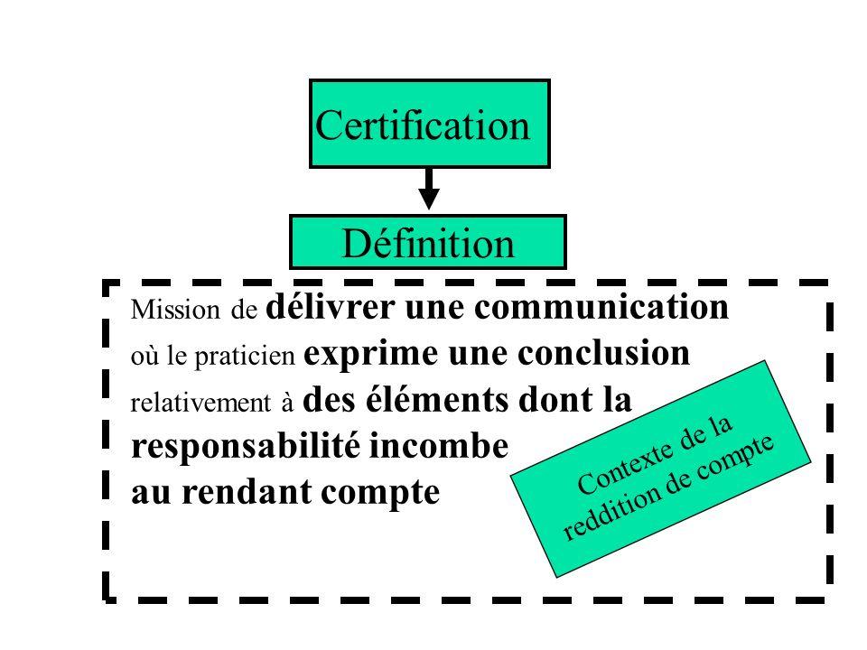 Certification Définition au rendant compte