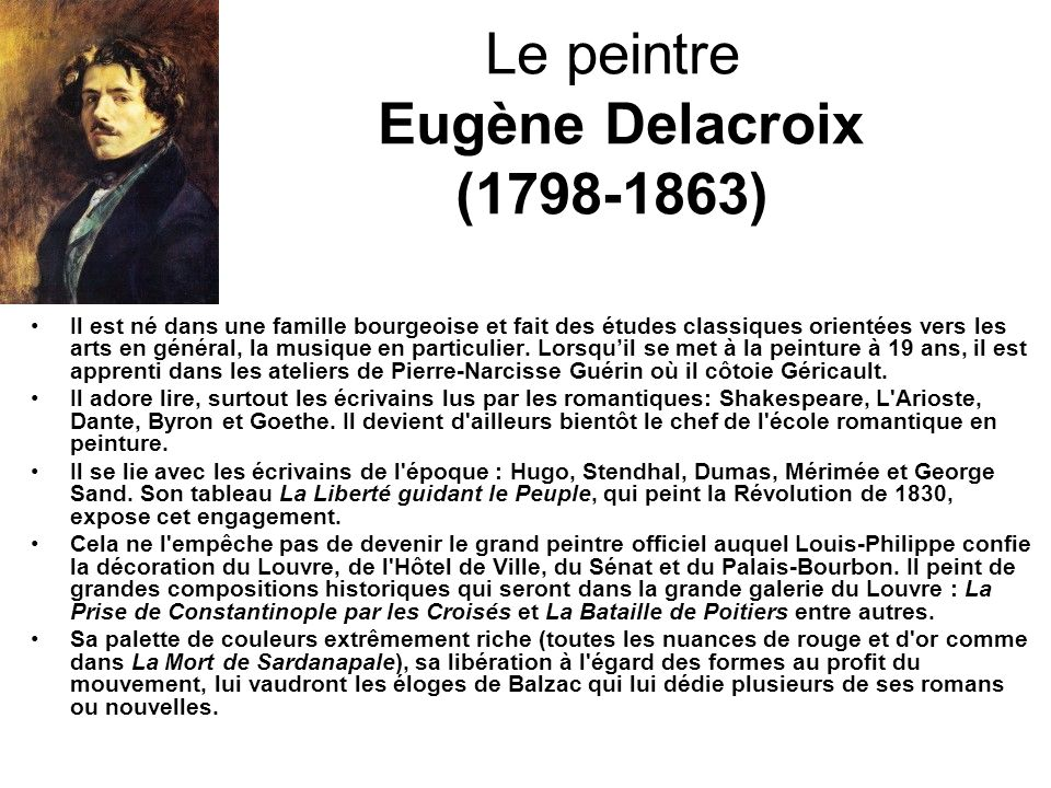 Le peintre Eugène Delacroix (1798-1863)