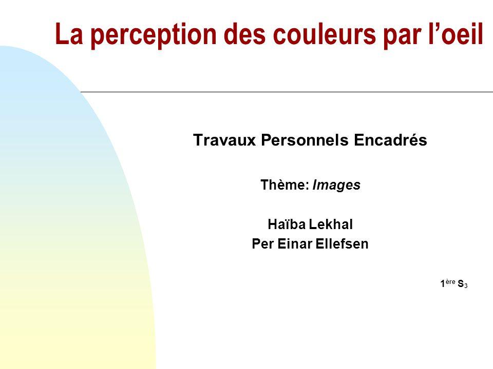 La perception des couleurs par l'oeil