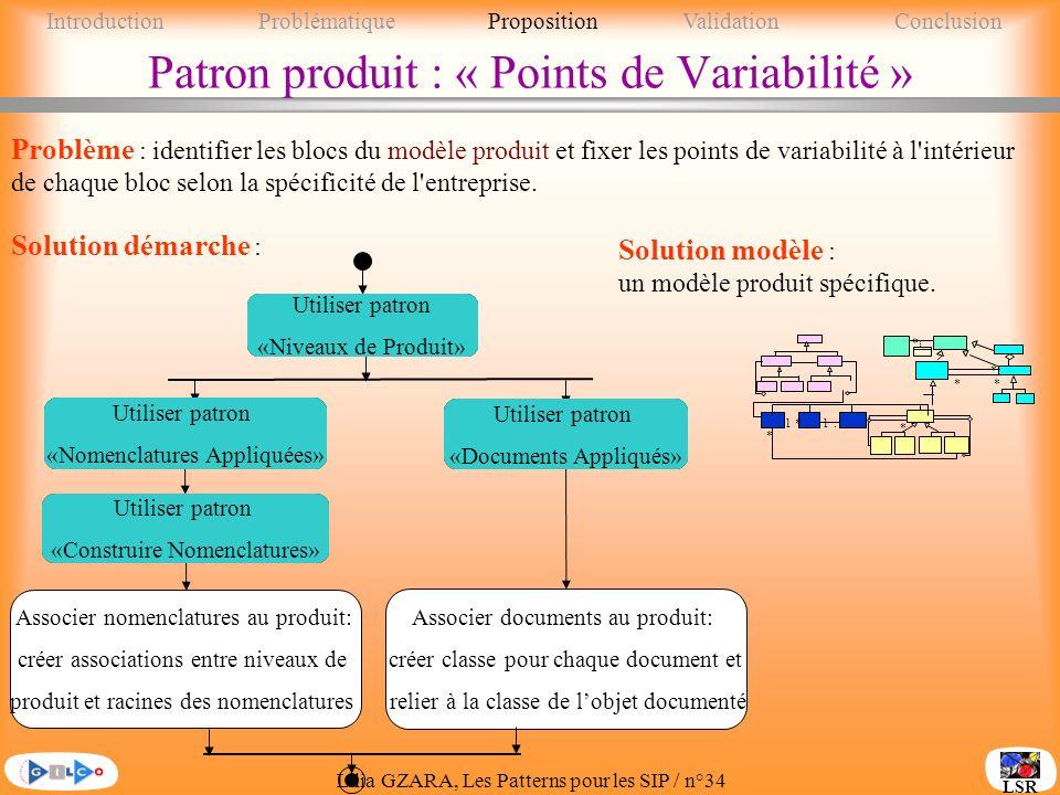 Patron produit : « Points de Variabilité »
