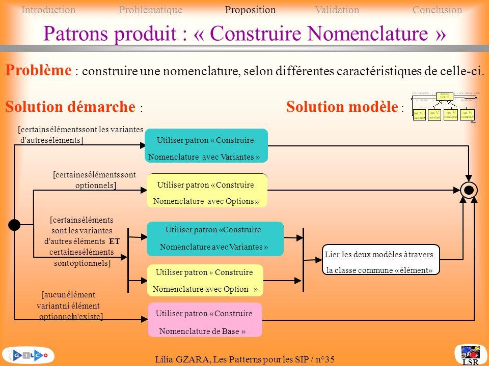 Patrons produit : « Construire Nomenclature »